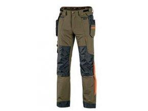 Kalhoty CXS NAOS pánské, olivové, HV oranžové doplňky,