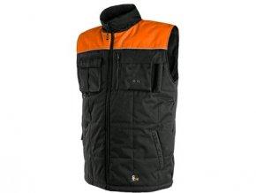 Pánská zimní vesta SEATTLE, fleece, černo-oranžová