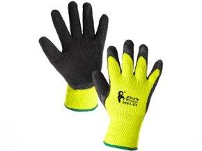 Rukavice CXS ROXY WINTER, zimní, máčené v latexu, černo-žluté, vel. 10