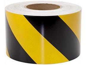Samolepicí etiketa žluto černá 400x80mm role s perforací k dělení Aldivex
