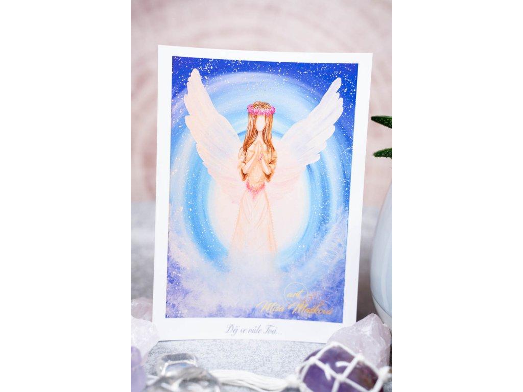 """Pohlednice """"Děj se vůle tvá"""" modrý anděl"""