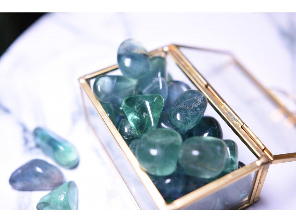 Modrozelený fluorit tromlík duchovno, paměť (velikost M)
