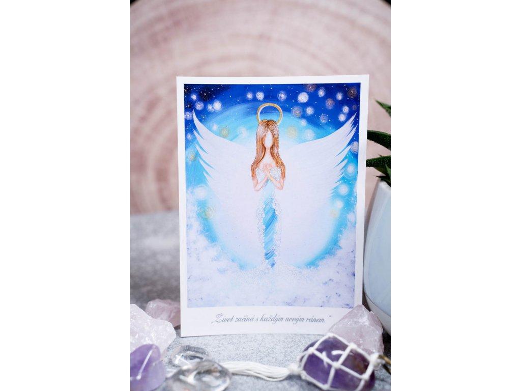 """Pohlednice modrý anděl """"Život začíná s každým novým ránem."""""""