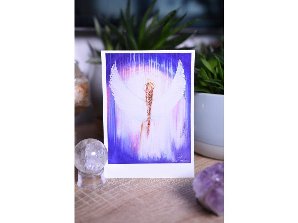Přáníčko nebo kartička nebeská andělka (titulka pro kalendář 2021)