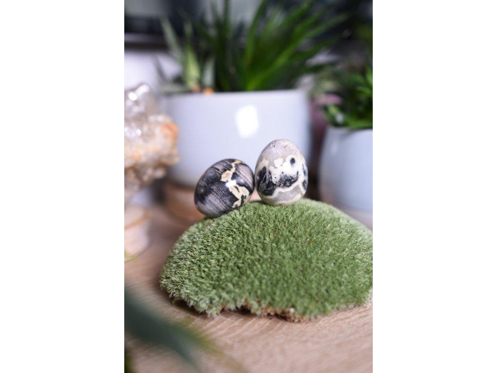 Energetické vajíčko stříbrný jaspis (Yoni) (ochrana, spojení se zemí, nalezení sama sebe)