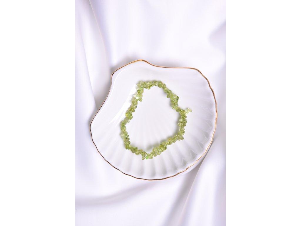 Olivín (peridot) sekaný náramek (láska, peníze, štěstí, radost) AA kvalita