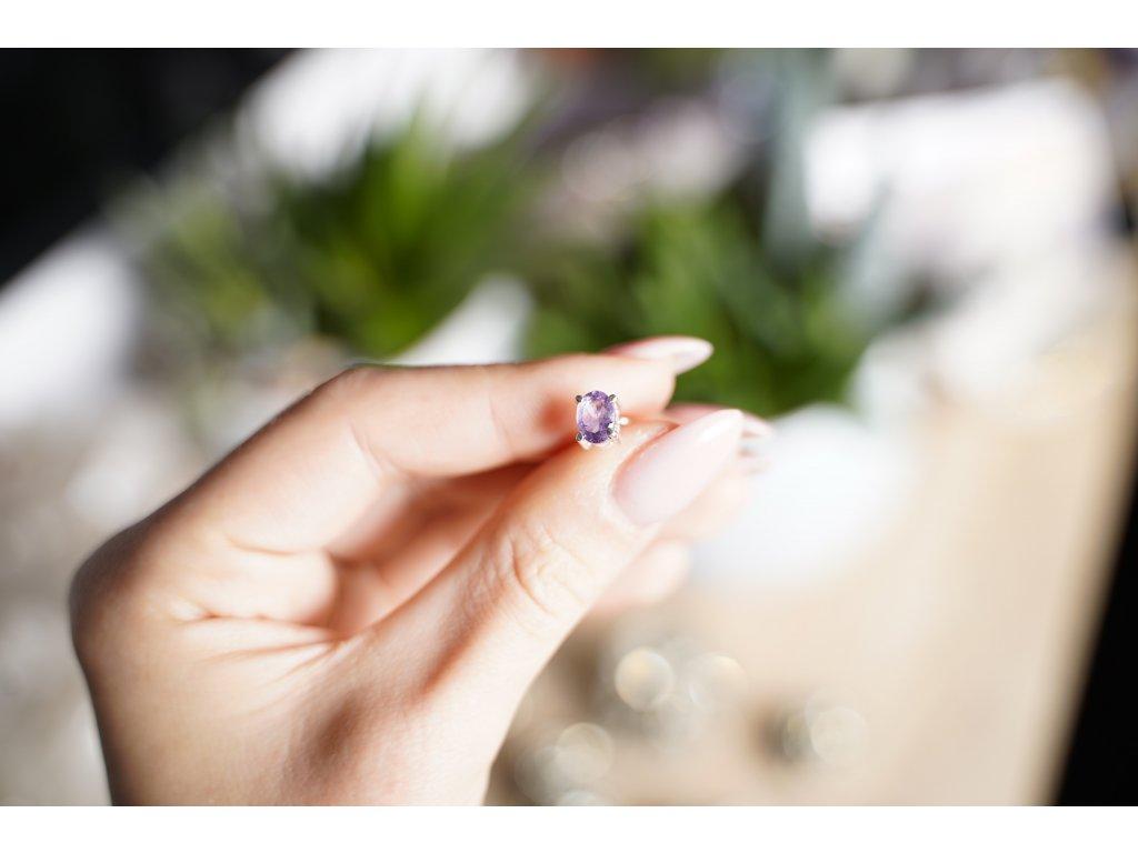 Náušnice ametyst ve stříbře AA kvalita broušený (ochrana, meditace, duchovno, intuice, čištění)