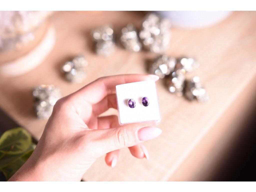 Náušnice ametyst ve stříbře AA kvalita oválné (ochrana, meditace, duchovno, intuice, čištění)
