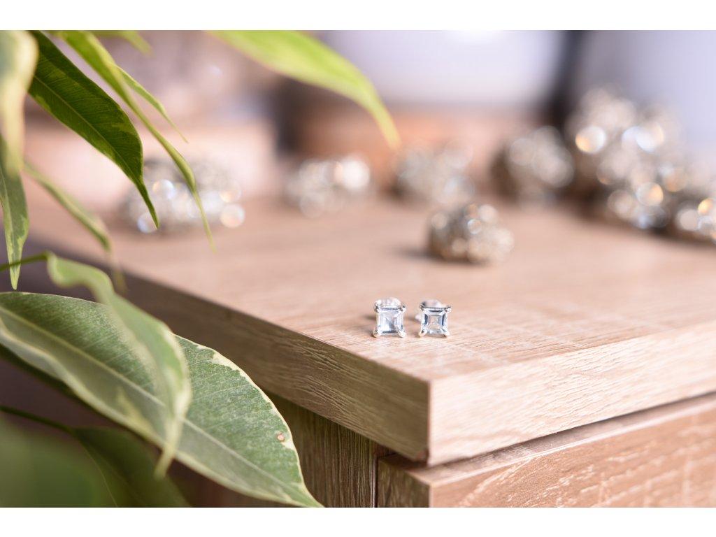 Náušnice modrý topaz hranatý ve stříbře AA kvalita (komunikace, meditace, spojení s anděly)