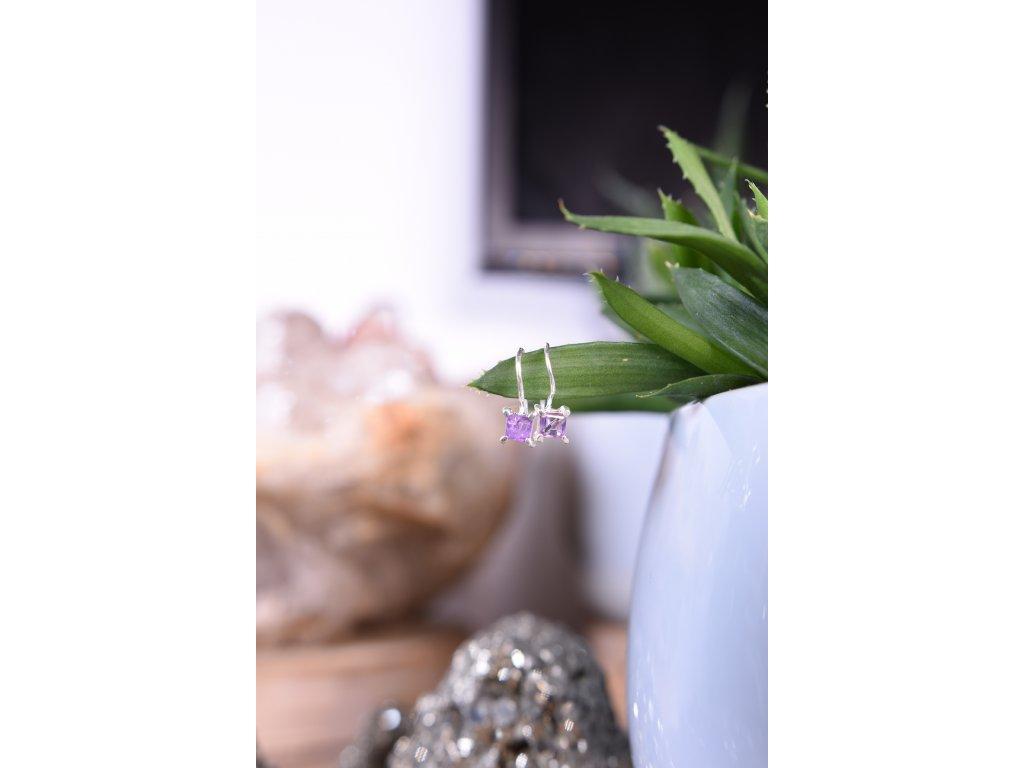 Náušnice ametyst ve stříbře AA kvalita broušený hranaté  (ochrana, meditace, duchovno, intuice, čištění)