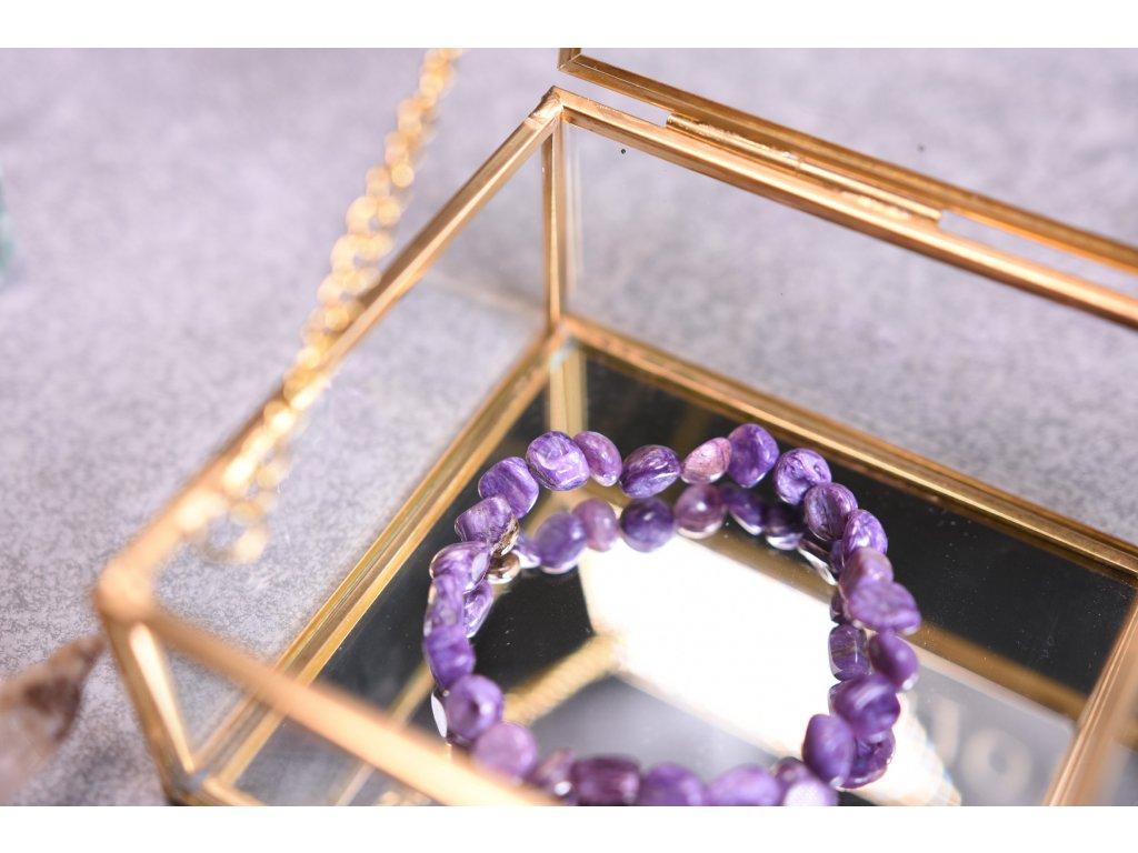 Vzácný čaroit náramek z tromlů AA kvalita (kámen odvahy a magie)