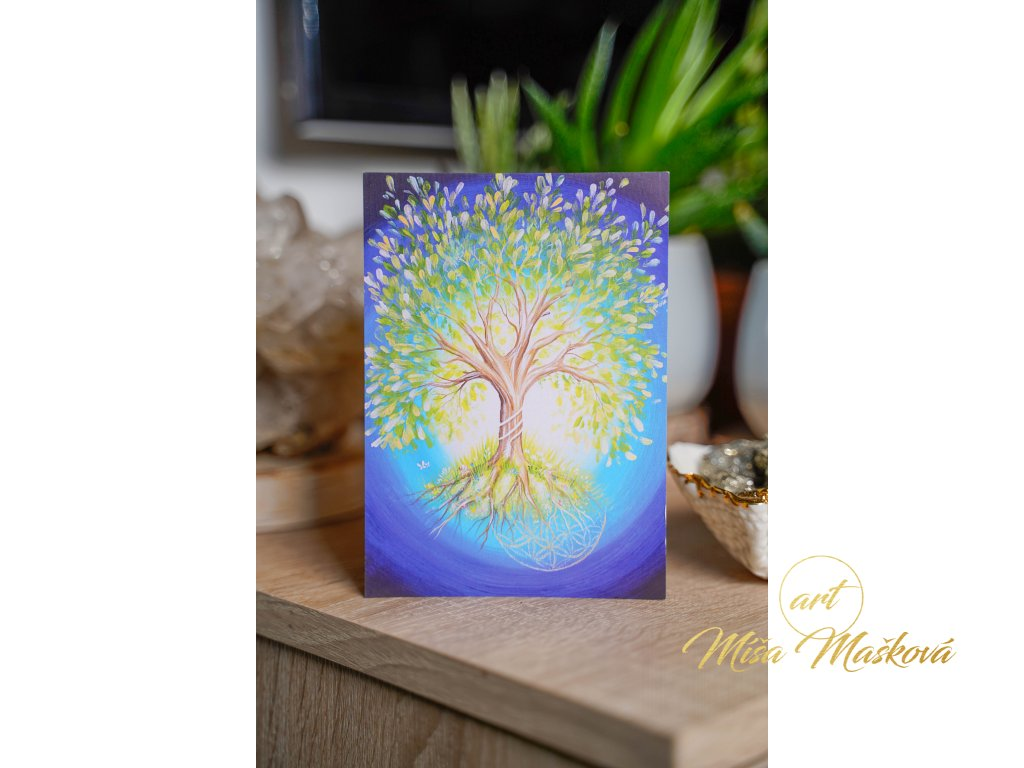 """Pohlednice se stromem """"Moudrost věků a síla života"""""""
