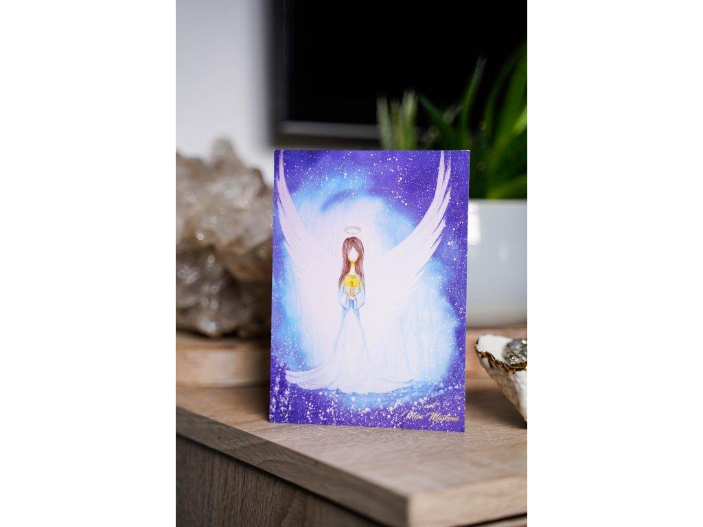 """Pohlednice Anděl se svíčkou """"Naděje a víra, že bude zase dobře"""""""