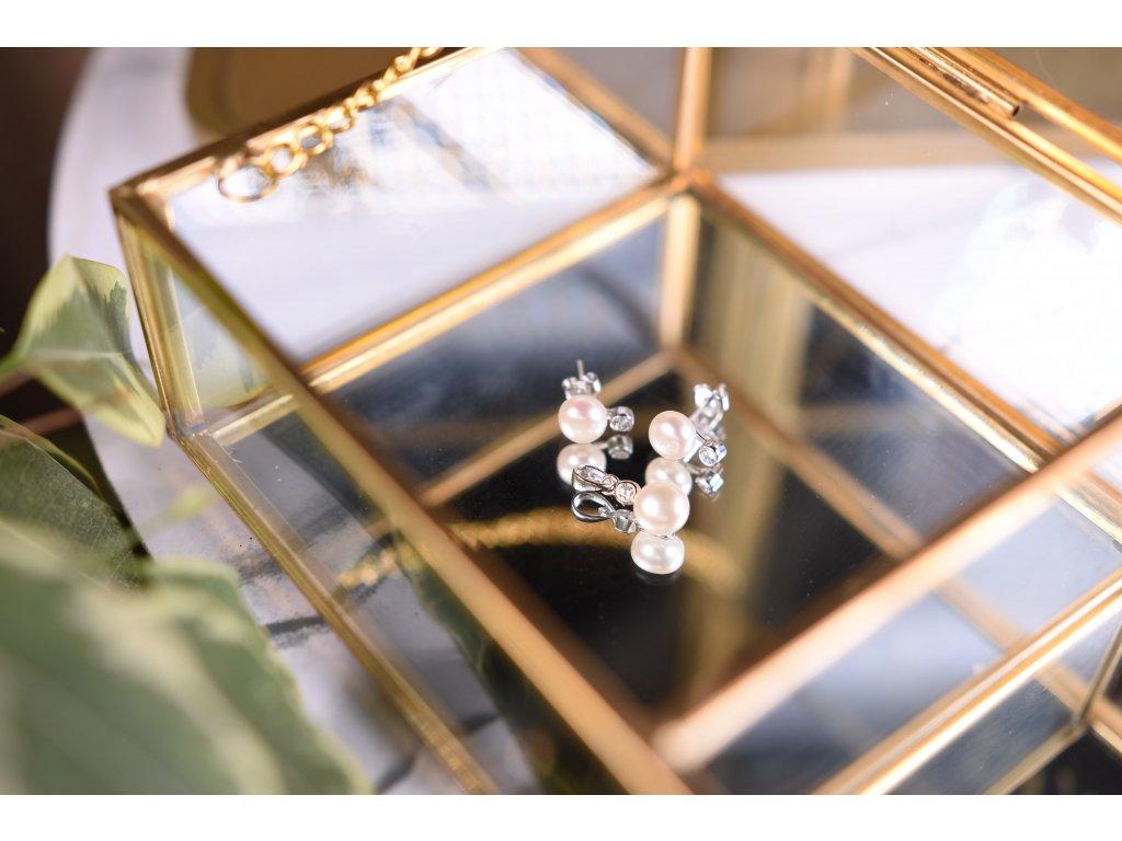 Set říční perly bílé náušnice a přívěsek ve stříbře (nové začátky, moudrost, půvab)