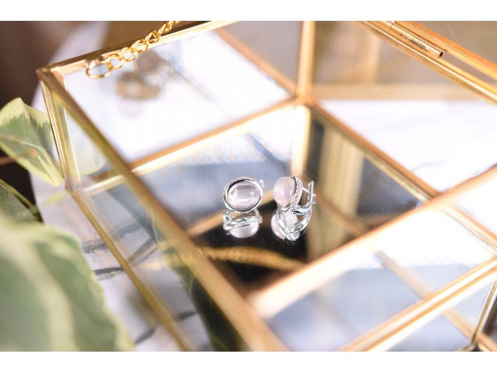 Náušnice růženín ve stříbře (sebeláska, psychika, mateřská láska, něha)