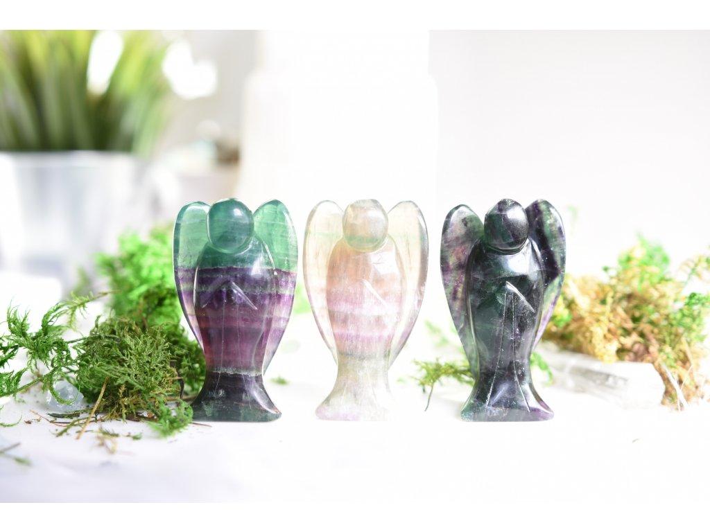 Fluoritový anděl velký 7,5cm (duchovno, paměť)