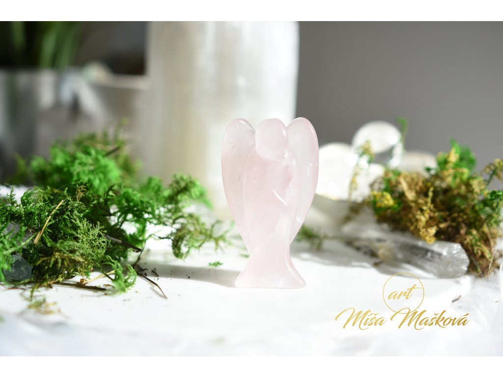 Růženínový anděl velký 7,5cm (sebeláska, psychika, mateřství)
