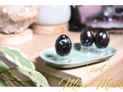 Energetické vajíčko vločkovaný obsidián (jednota, talisman, život, ochrana, nové začátky)
