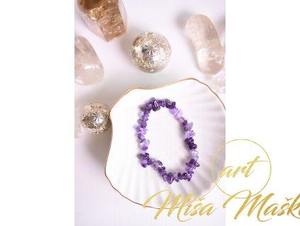 Ametyst sekaný náramek EXTRA kvalita, krásná sytá fialová (ochrana, meditace, duchovno, intuice, čištění)