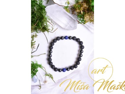 Lávový kámen, hematit, lapis lazuli (duchovno, osobnostní rozvoj, ochrana, stres)