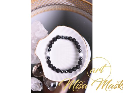 Lávový kámen, hematit, magnezit (klid, meditace, pochopení, empatie, ochrana, stres)