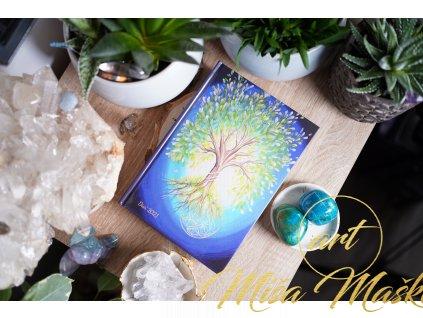 Motivační diář 2021 se stromem života (A5, knižní vazba, autorská tvorba, poselství, autorské obrazy a ilustrace uvnitř, zápisník)