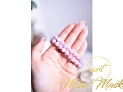 Vzácný růžový kunzit 8 mm (srdeční čakra, pokora, láska, partnerství, vztahy, ochrana před zářením) AA nejvyšší kvalita