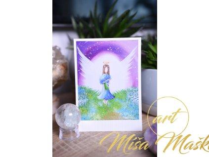 Přáníčko nebo kartička Andělka s květinami a dětskou radostí