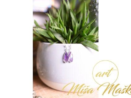 Náušnice ametyst ve stříbře AA kvalita broušený oválné kapky (ochrana, meditace, duchovno, intuice, čištění)