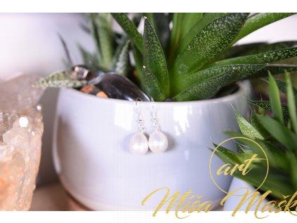 Přírodní říční perly bílé náušnice ve stříbře (nové začátky, moudrost, půvab)
