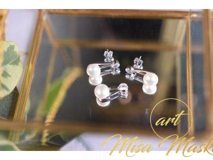 Luxusní set říční perly bílé náušnice a přívěsek ve stříbře (nové začátky, moudrost, půvab)