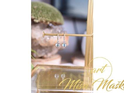 Luxusní náušnice modrý topaz ve stříbře (komunikace, meditace, spojení s anděly)