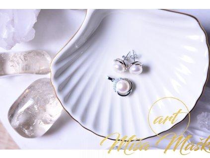 Elegantní set říční perly bílé náušnice a přívěsek ve stříbře (nové začátky, moudrost, půvab)