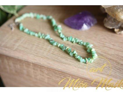 Chrysopras náhrdelník AA kvalita (radost, ochrana, štěstí, vitalita)