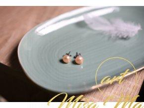 Náušnice pravé meruňkové perly (vnitřní žena, půvab)