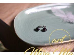 Náušnice pravé černé perly (vnitřní žena, půvab, ochrana)