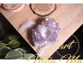 Krásný přírodní ametystový svícen - drúza (očista prostoru, ochrana) 861g