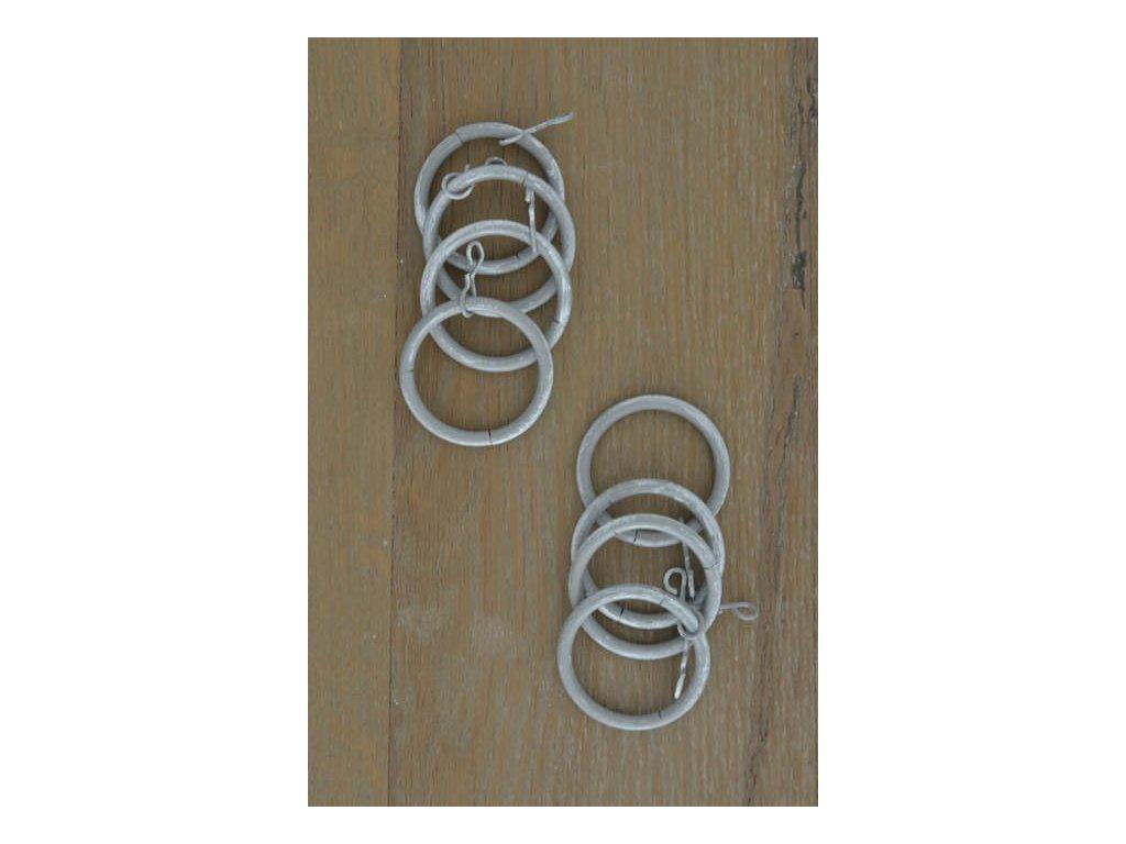 Kovové záclonové kroužky šedé