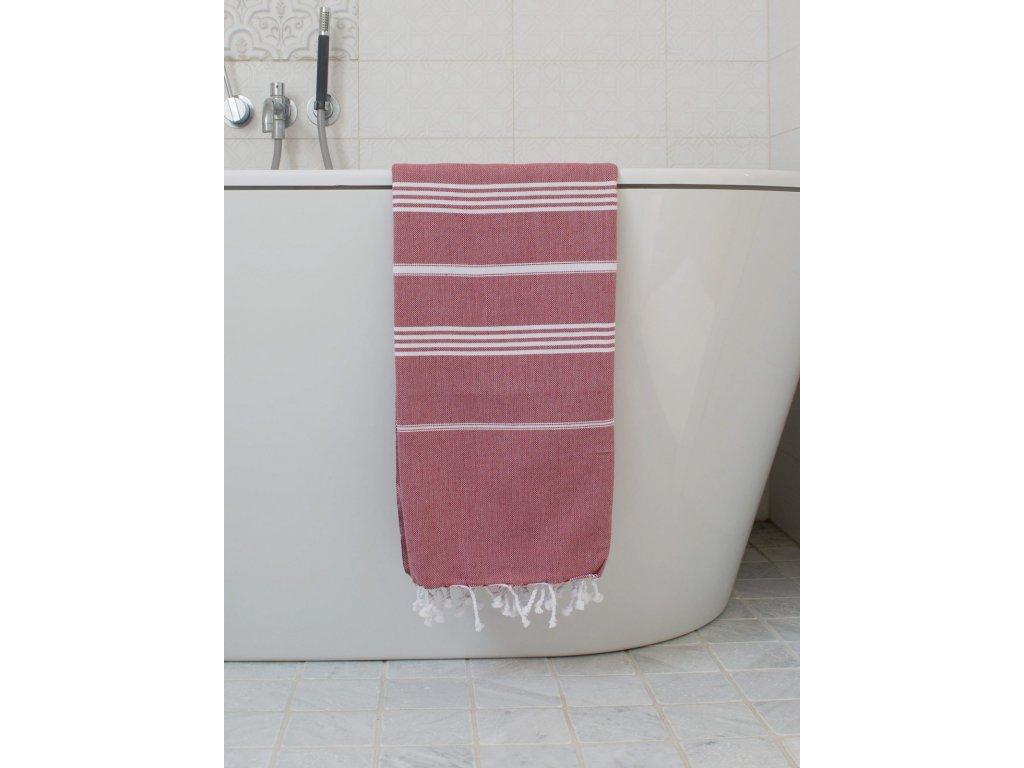 Ottomania Hamam Towel burgundy red 3423 a