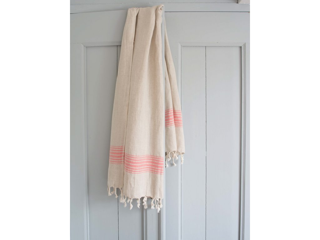 Ottomania linen hamam towel coral red 2331 1