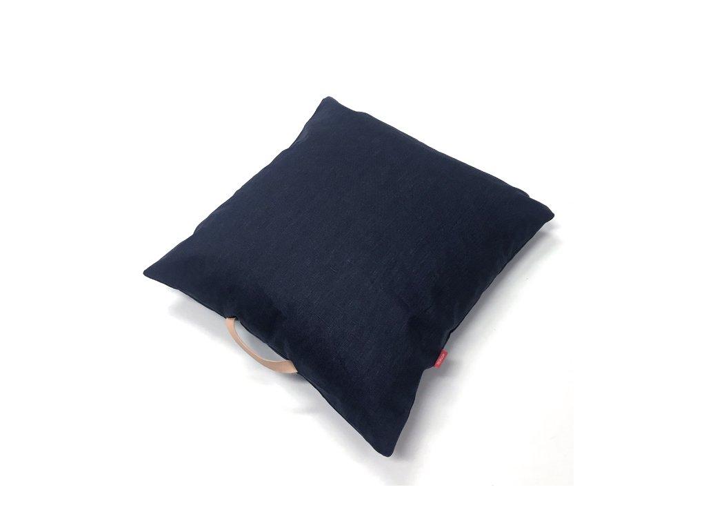 Lněný Povlak na polštář s koženým uchem - modrá námořní