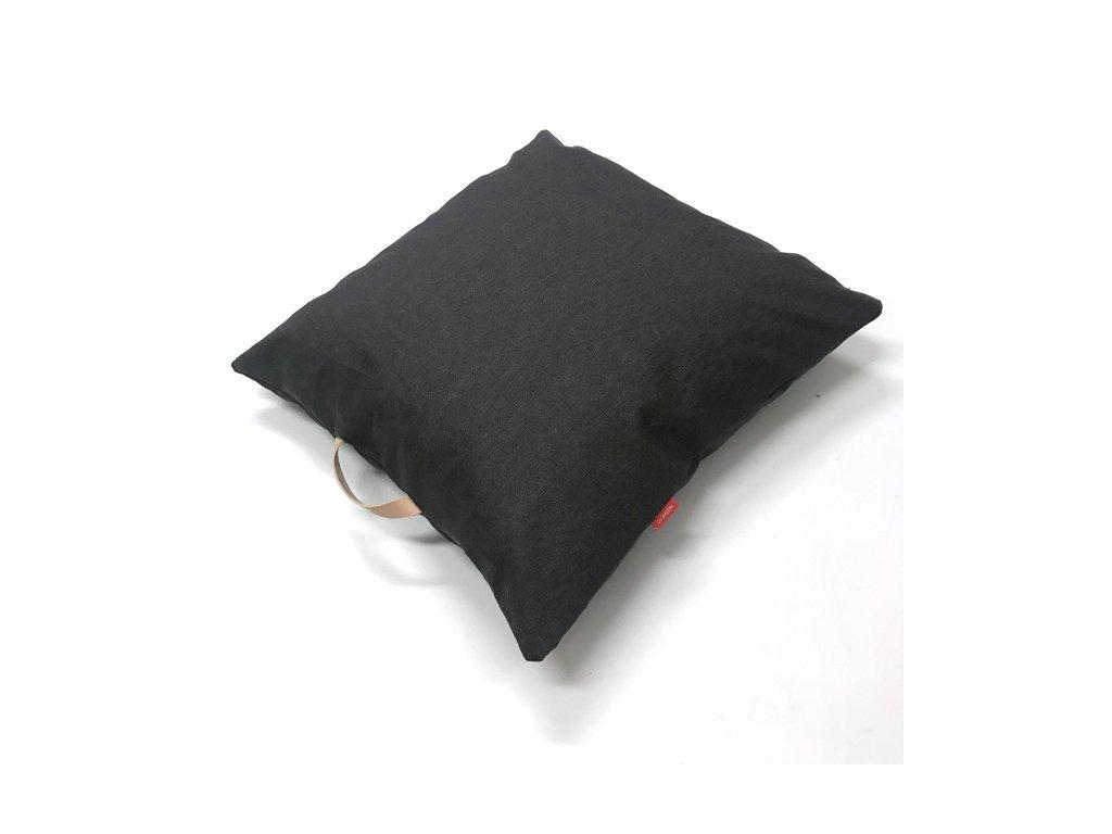 Lněný Povlak na polštář s koženým uchem - šedá titanová