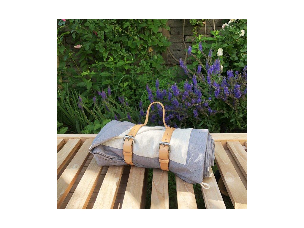Luxusní pikniková deka lněná s popruhy z kůže - len se zátěrem šedá / len přírodní 140x200cm