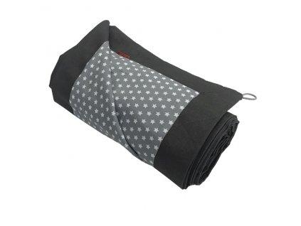 Pikniková deka lněná - len se zátěrem šedá titanová/plátno Star bílá na šedé 140x200 cm