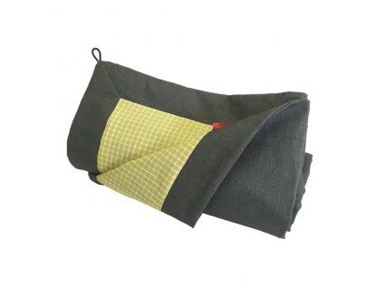 Pikniková deka lněná - len se zátěrem khaki /směsové plátno limetková kostka 140x200 cm
