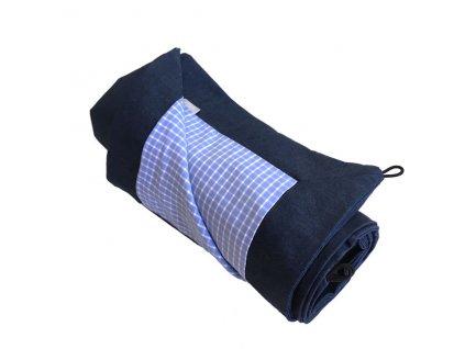 Pikniková deka lněná - len se zátěrem modrá námořní /směsové plátno modrá mořská kostka 140x200 cm