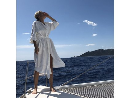 Lněný župan dámský UNI 100% len bílá, přírodní, khaki
