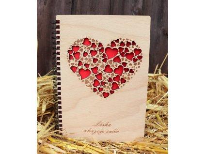 Dřevěný bloček A5 srdce