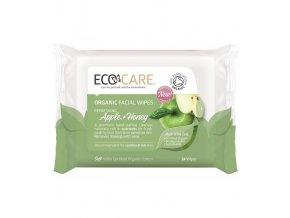 Organické čistiace obrúsky na tvár, zelené jablko a med, 24 ks, EcoCare