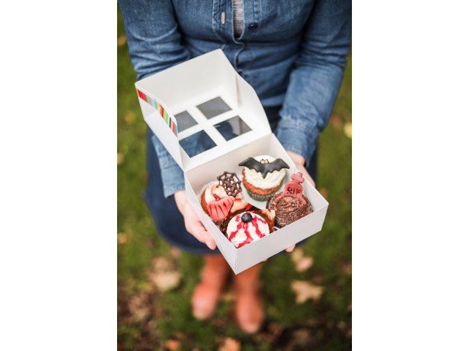 Krabička 4 halloweenských cupcakes